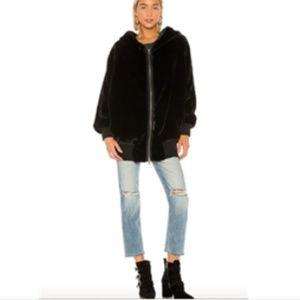 Free People Black Faux Fur Oversize Hoodie Jacket